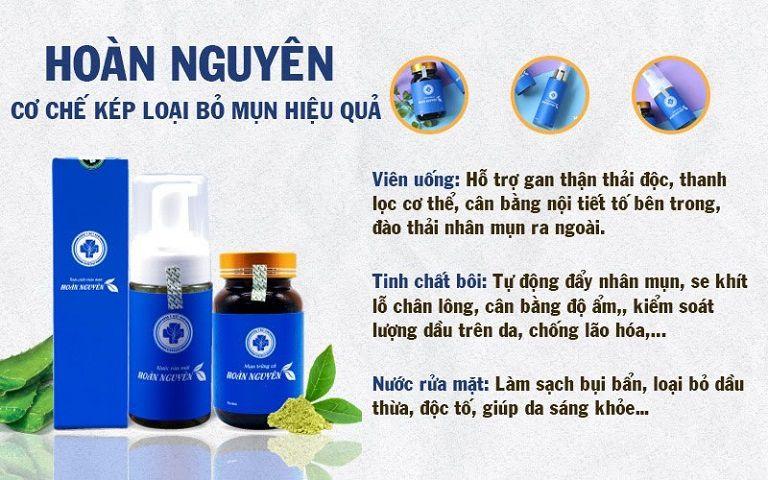 Viên uống Hoàn nguyên 2 được bào chế từ các loại thảo dược tự nhiên lành tính giúp trị mụn tận gốc